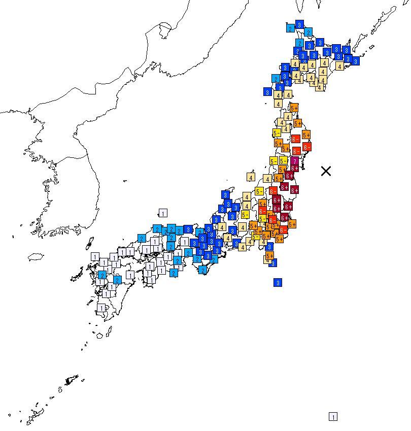 東日本大震災震度マップ