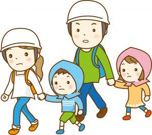 避難する家族 地震対策